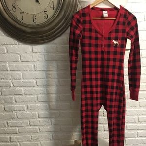 Victoria's Secret PINK red and black onesie